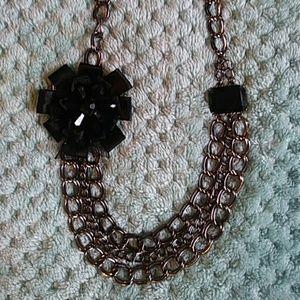 Black Floral Chain Necklace